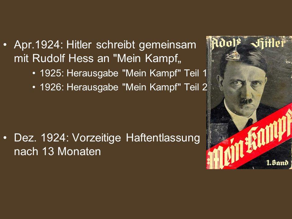 Apr.1924: Hitler schreibt gemeinsam mit Rudolf Hess an