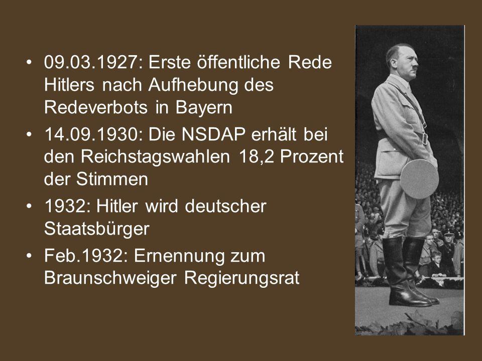 09.03.1927: Erste öffentliche Rede Hitlers nach Aufhebung des Redeverbots in Bayern 14.09.1930: Die NSDAP erhält bei den Reichstagswahlen 18,2 Prozent