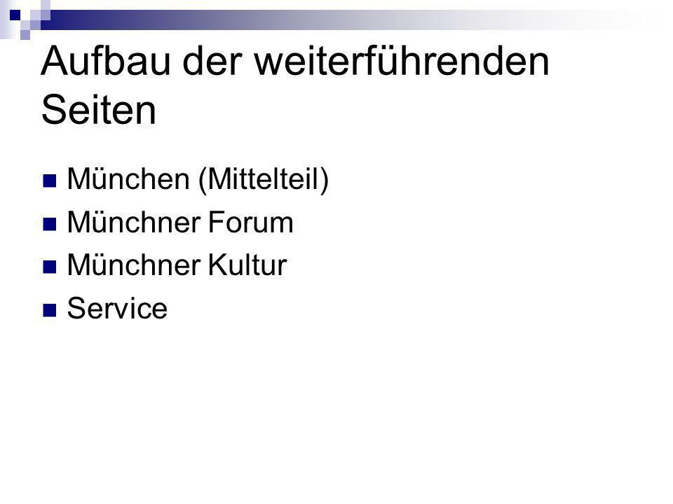 Aufbau der weiterführenden Seiten München (Mittelteil) Münchner Forum Münchner Kultur Service