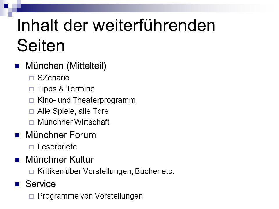 Inhalt der weiterführenden Seiten München (Mittelteil) SZenario Tipps & Termine Kino- und Theaterprogramm Alle Spiele, alle Tore Münchner Wirtschaft M