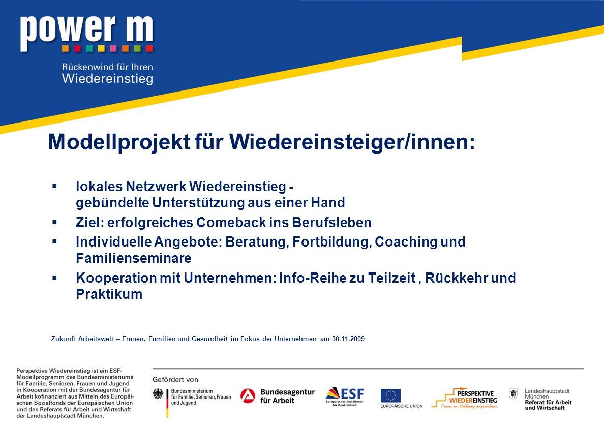 Modellprojekt für Wiedereinsteiger/innen: lokales Netzwerk Wiedereinstieg - gebündelte Unterstützung aus einer Hand Ziel: erfolgreiches Comeback ins B