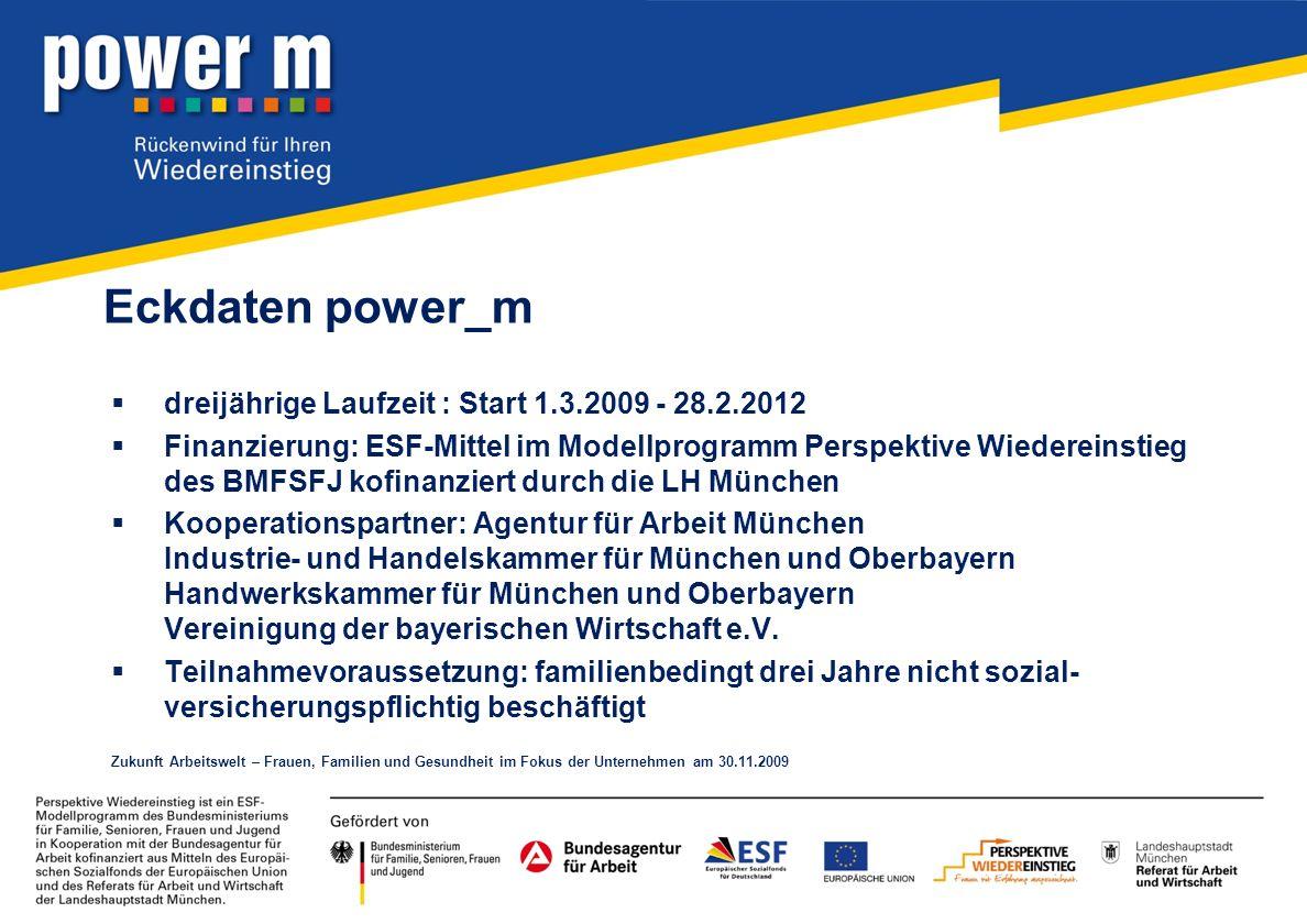 Eckdaten power_m dreijährige Laufzeit : Start 1.3.2009 - 28.2.2012 Finanzierung: ESF-Mittel im Modellprogramm Perspektive Wiedereinstieg des BMFSFJ ko