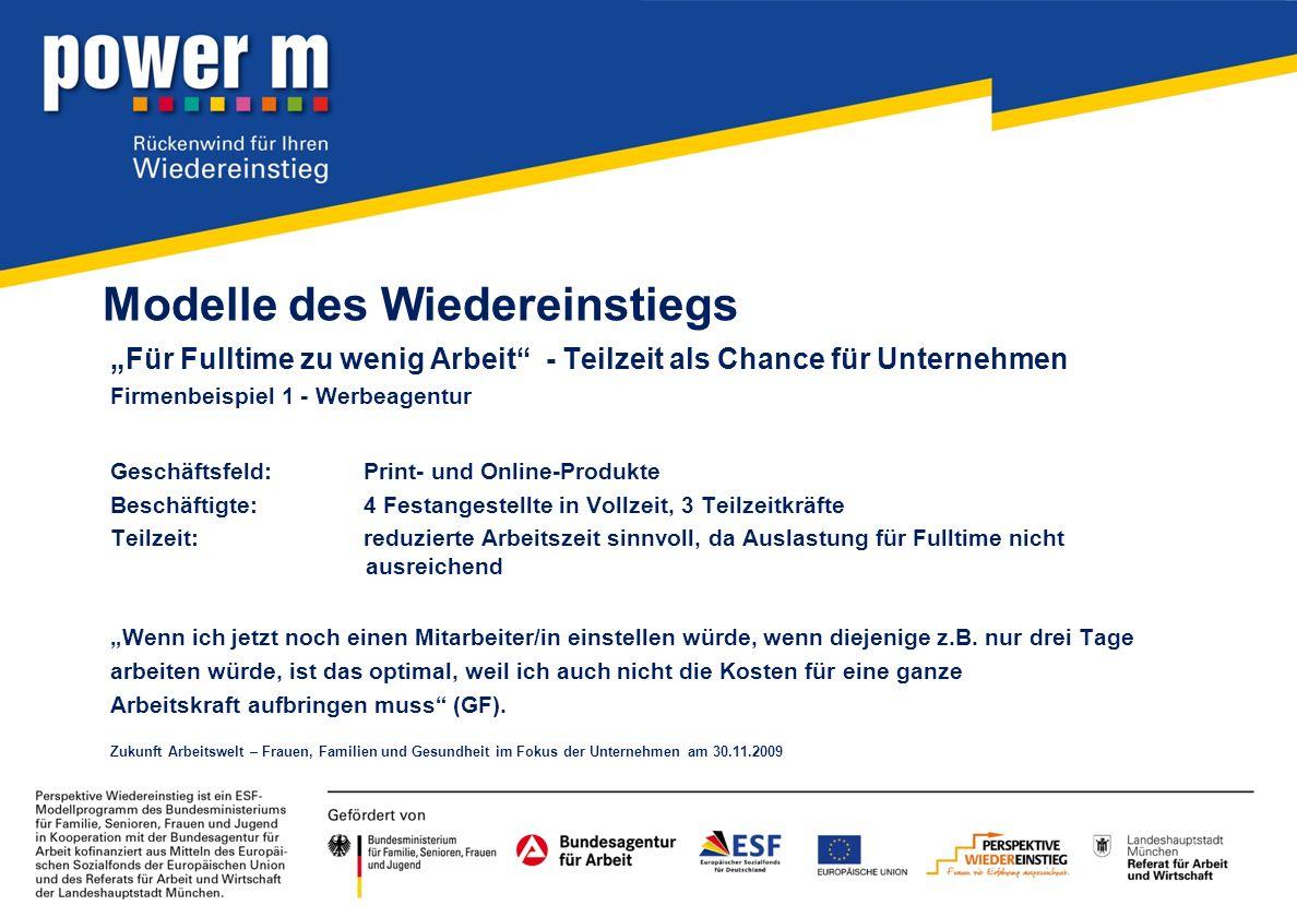 Modelle des Wiedereinstiegs Für Fulltime zu wenig Arbeit - Teilzeit als Chance für Unternehmen Firmenbeispiel 1 - Werbeagentur Geschäftsfeld:Print- un