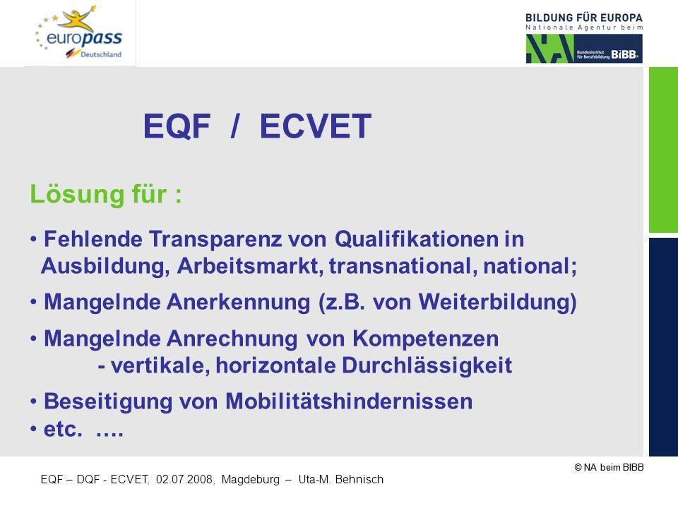 © NA beim BIBB EQF – DQF - ECVET, 02.07.2008, Magdeburg – Uta-M.