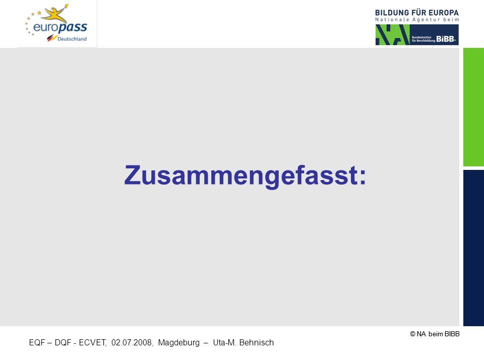 © NA beim BIBB EQF – DQF - ECVET, 02.07.2008, Magdeburg – Uta-M. Behnisch Zusammengefasst: