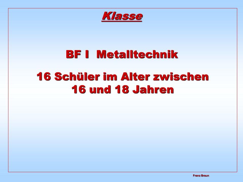 Franz Braun Franz Braun Klasse BF I Metalltechnik 16 Schüler im Alter zwischen 16 und 18 Jahren