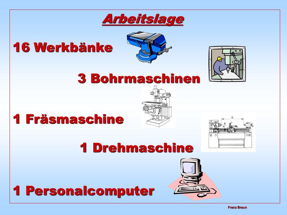 Franz Braun Franz Braun Arbeitslage 1 Drehmaschine 1 Personalcomputer 16 Werkbänke 3 Bohrmaschinen 1 Fräsmaschine