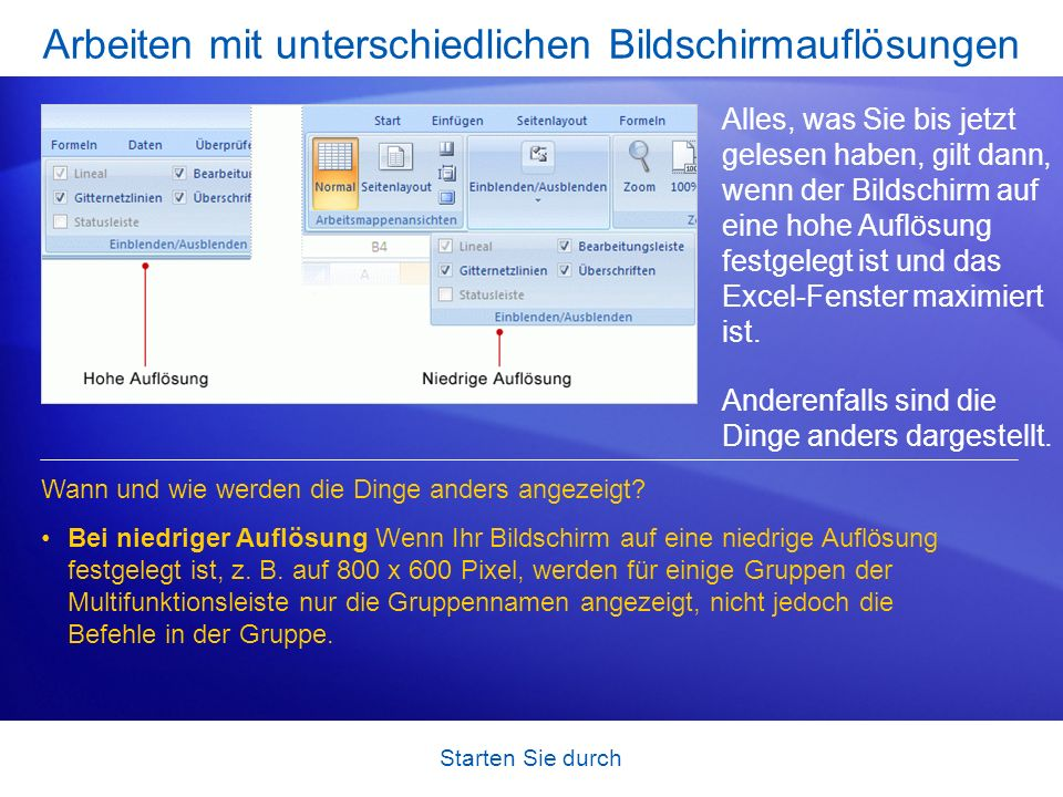 Starten Sie durch Arbeiten mit unterschiedlichen Bildschirmauflösungen Alles, was Sie bis jetzt gelesen haben, gilt dann, wenn der Bildschirm auf eine