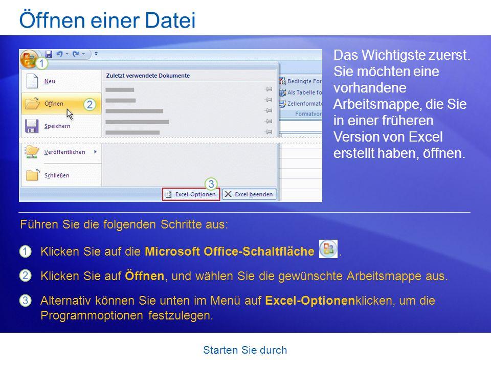 Starten Sie durch Öffnen einer Datei Das Wichtigste zuerst. Sie möchten eine vorhandene Arbeitsmappe, die Sie in einer früheren Version von Excel erst
