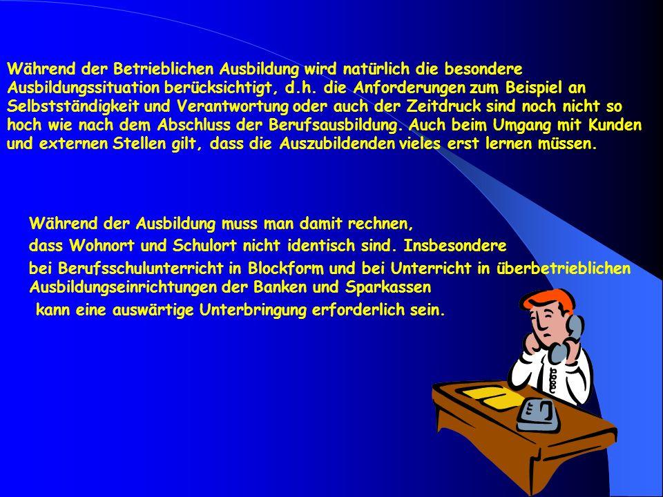 Während der Betrieblichen Ausbildung wird natürlich die besondere Ausbildungssituation berücksichtigt, d.h. die Anforderungen zum Beispiel an Selbstst