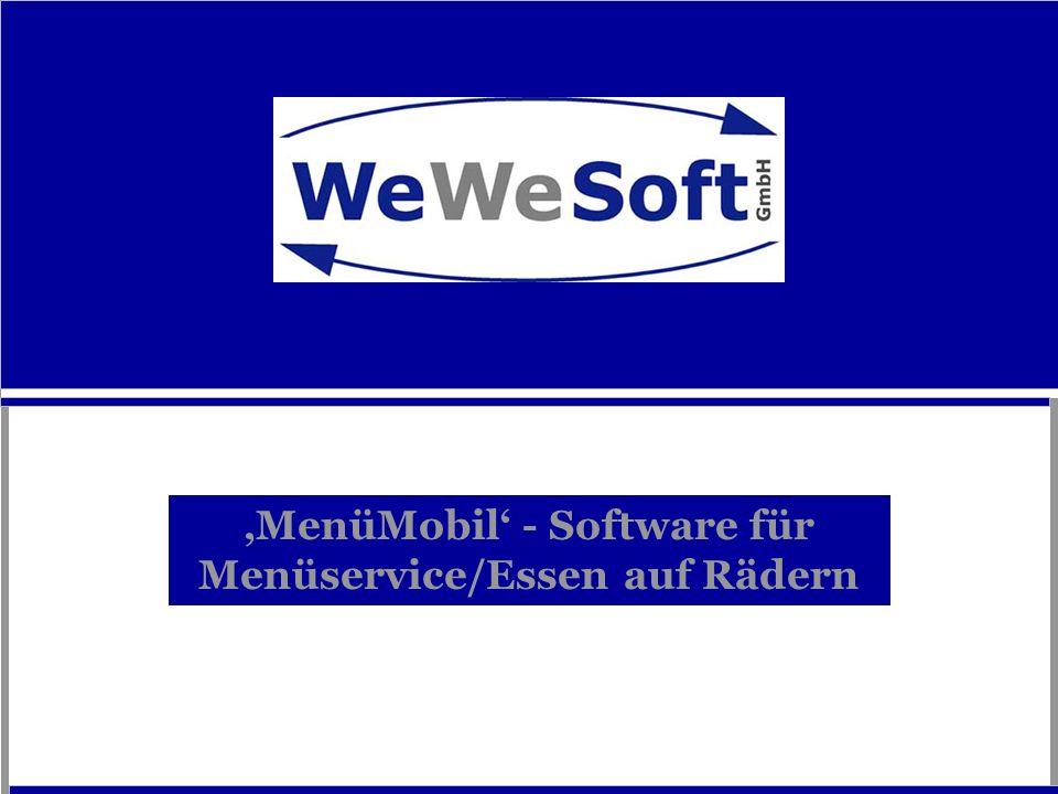 MenüMobil: Menüservice/Essen auf Rädern Individuell erweiterbare Standardsoftware für Menüservice/Essen auf Rädern Berücksichtigt und unterstützt den gesamten Prozeß im Menüservice!