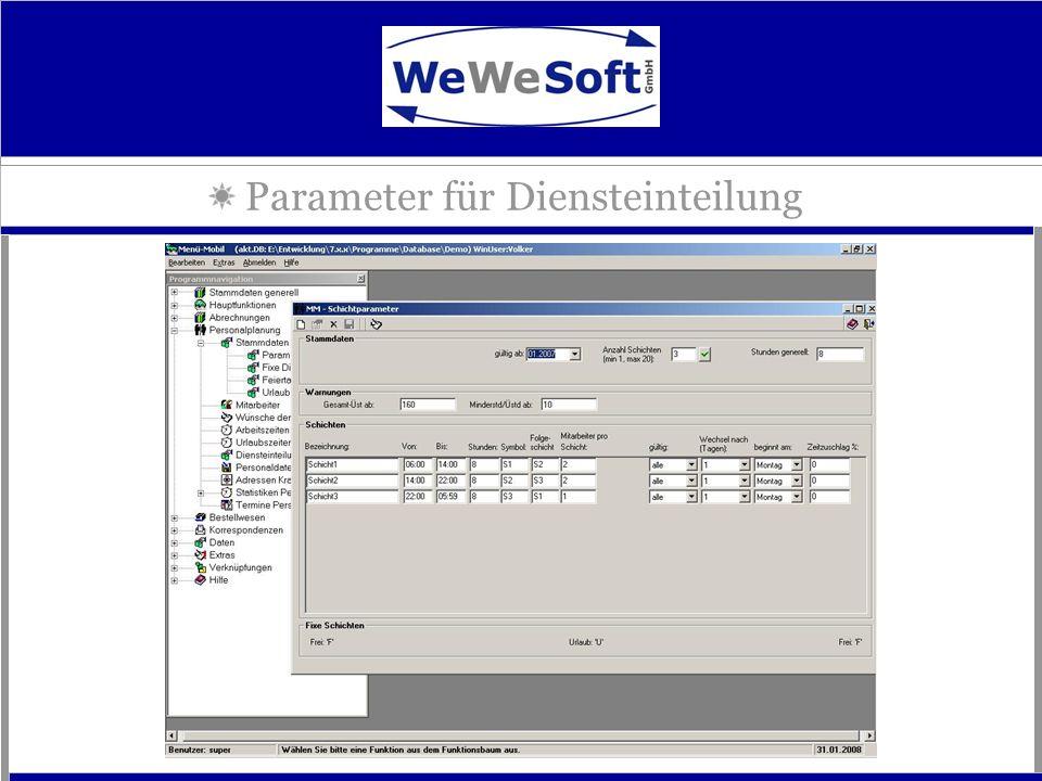 Parameter für Diensteinteilung