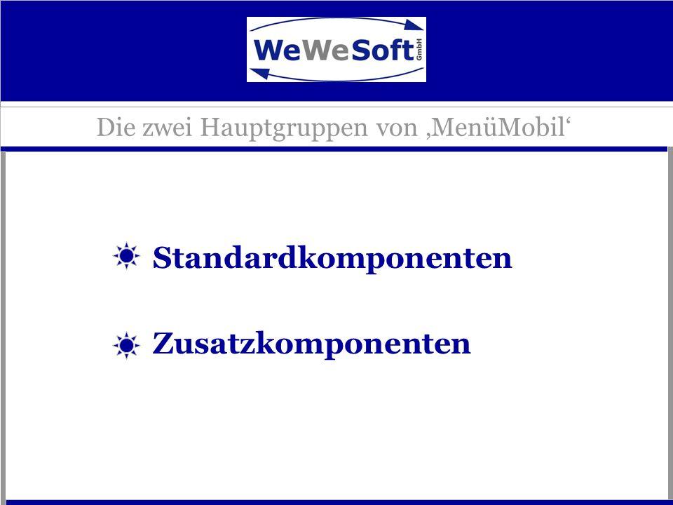Die zwei Hauptgruppen von MenüMobil Standardkomponenten Zusatzkomponenten