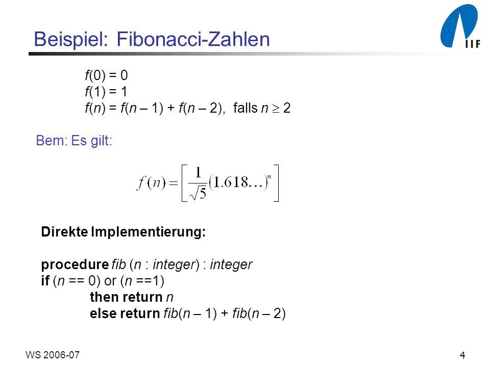 4WS 2006-07 Beispiel: Fibonacci-Zahlen f(0) = 0 f(1) = 1 f(n) = f(n – 1) + f(n – 2), falls n 2 Bem: Es gilt: Direkte Implementierung: procedure fib (n