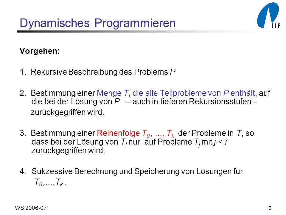 6WS 2006-07 Dynamisches Programmieren Vorgehen: 1. Rekursive Beschreibung des Problems P 2. Bestimmung einer Menge T, die alle Teilprobleme von P enth