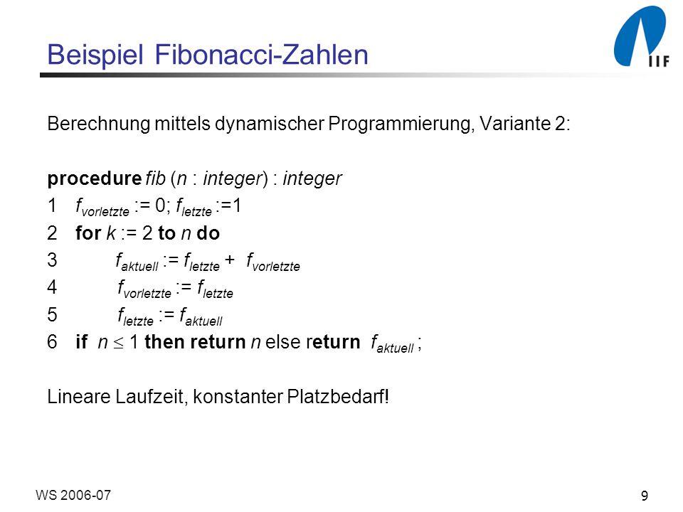 9WS 2006-07 Beispiel Fibonacci-Zahlen Berechnung mittels dynamischer Programmierung, Variante 2: procedure fib (n : integer) : integer 1f vorletzte :=