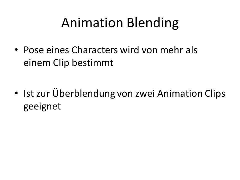 Animation Blending Pose eines Characters wird von mehr als einem Clip bestimmt Ist zur Überblendung von zwei Animation Clips geeignet