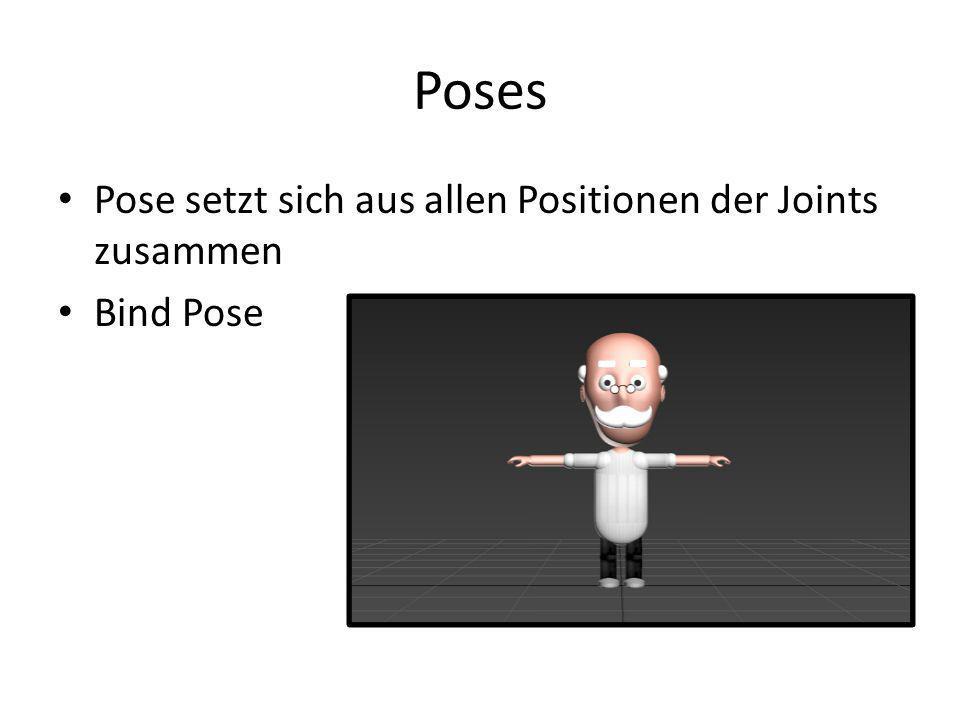 Poses Pose setzt sich aus allen Positionen der Joints zusammen Bind Pose