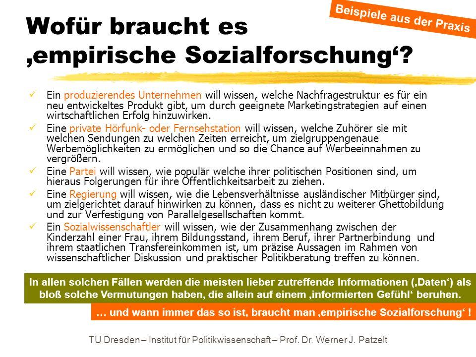 TU Dresden – Institut für Politikwissenschaft – Prof. Dr. Werner J. Patzelt Wofür braucht es empirische Sozialforschung? Ein produzierendes Unternehme