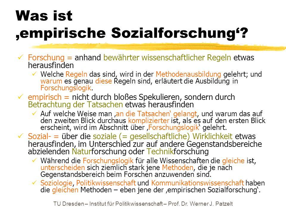 TU Dresden – Institut für Politikwissenschaft – Prof. Dr. Werner J. Patzelt Was ist empirische Sozialforschung? Forschung = anhand bewährter wissensch