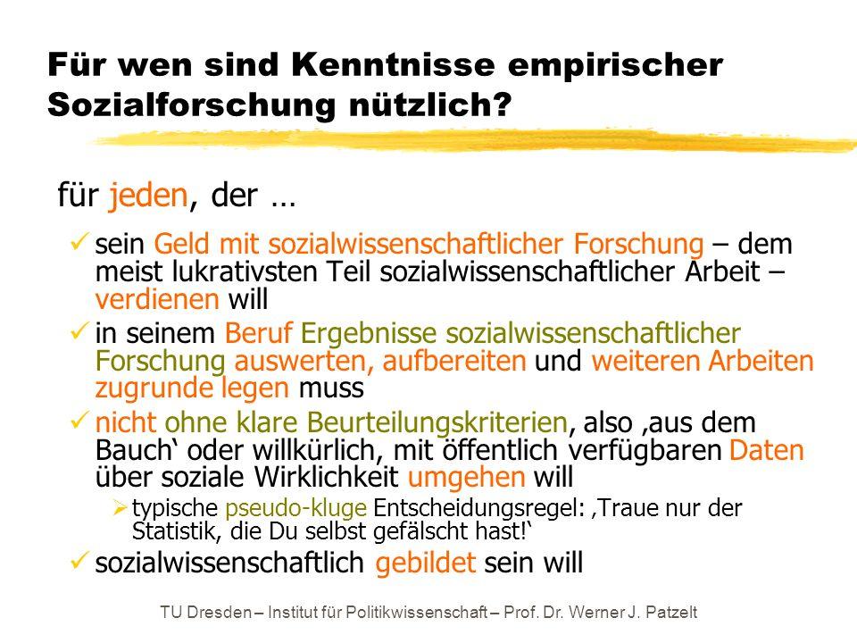 TU Dresden – Institut für Politikwissenschaft – Prof. Dr. Werner J. Patzelt Für wen sind Kenntnisse empirischer Sozialforschung nützlich? für jeden, d