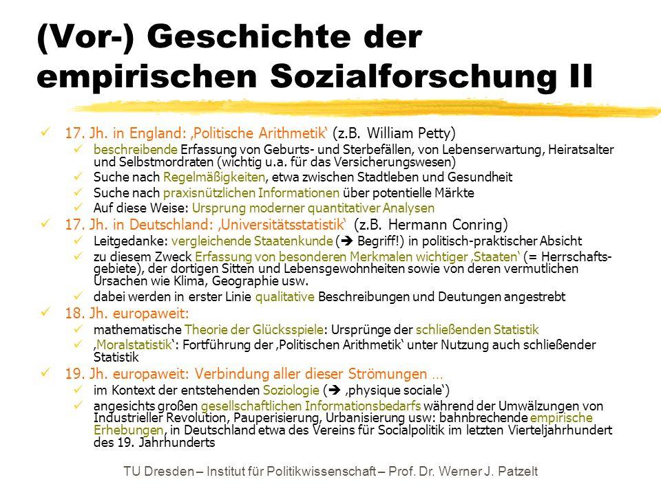 TU Dresden – Institut für Politikwissenschaft – Prof. Dr. Werner J. Patzelt (Vor-) Geschichte der empirischen Sozialforschung II 17. Jh. in England: P
