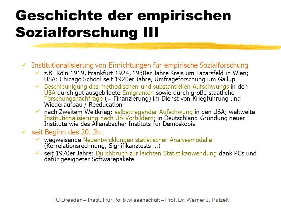 TU Dresden – Institut für Politikwissenschaft – Prof. Dr. Werner J. Patzelt Geschichte der empirischen Sozialforschung III Institutionalisierung von E