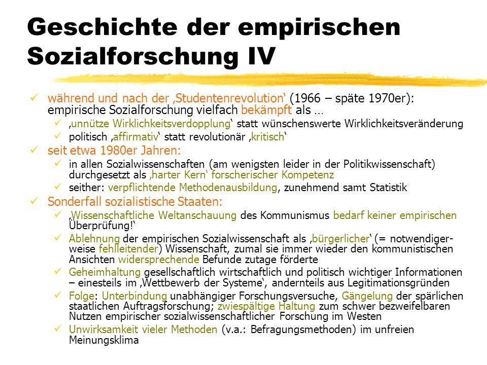 TU Dresden – Institut für Politikwissenschaft – Prof. Dr. Werner J. Patzelt Geschichte der empirischen Sozialforschung IV während und nach der Student