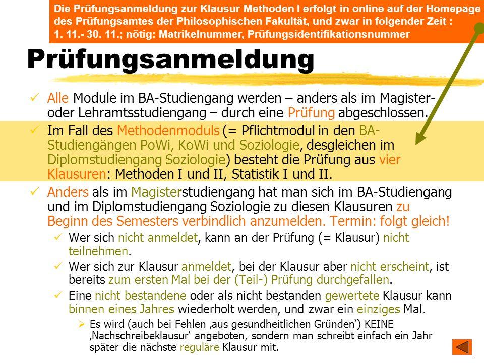 TU Dresden – Institut für Politikwissenschaft – Prof. Dr. Werner J. Patzelt Die Prüfungsanmeldung zur Klausur Methoden I erfolgt in online auf der Hom