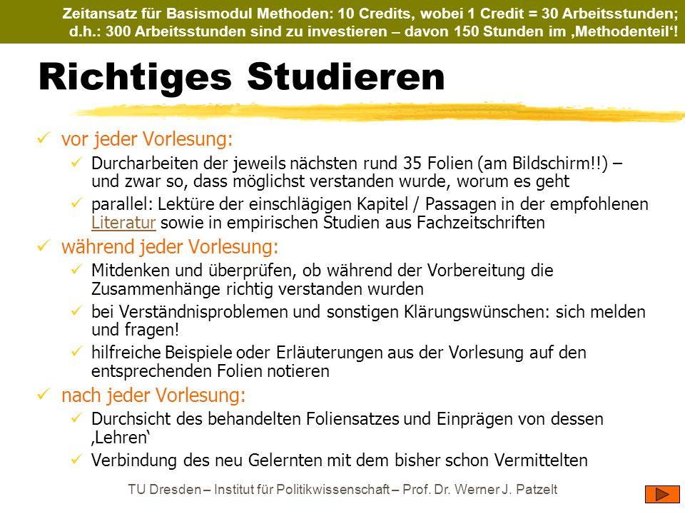TU Dresden – Institut für Politikwissenschaft – Prof. Dr. Werner J. Patzelt Richtiges Studieren vor jeder Vorlesung: Durcharbeiten der jeweils nächste