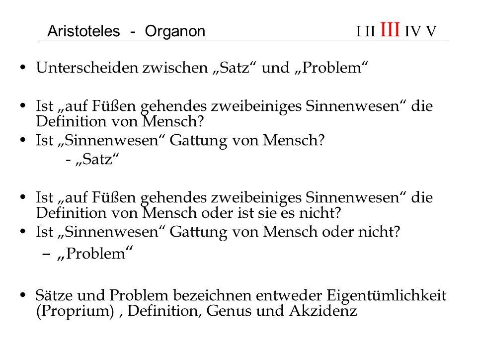 Aristoteles - Organon I II III IV V Unterscheiden zwischen Satz und Problem Ist auf Füßen gehendes zweibeiniges Sinnenwesen die Definition von Mensch?