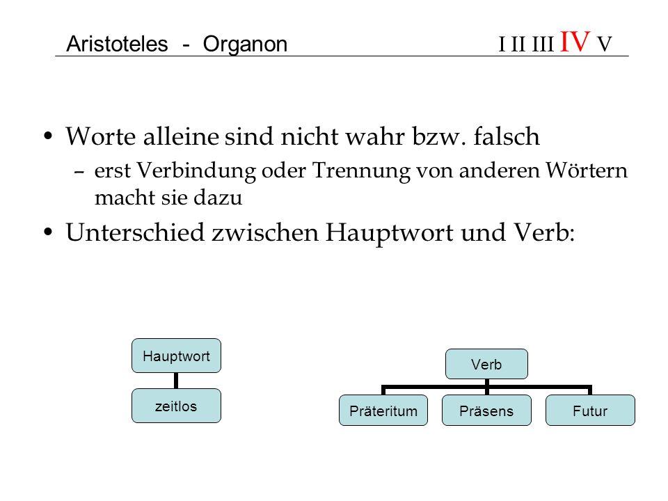 Aristoteles - Organon I II III IV V Worte alleine sind nicht wahr bzw. falsch –erst Verbindung oder Trennung von anderen Wörtern macht sie dazu Unters