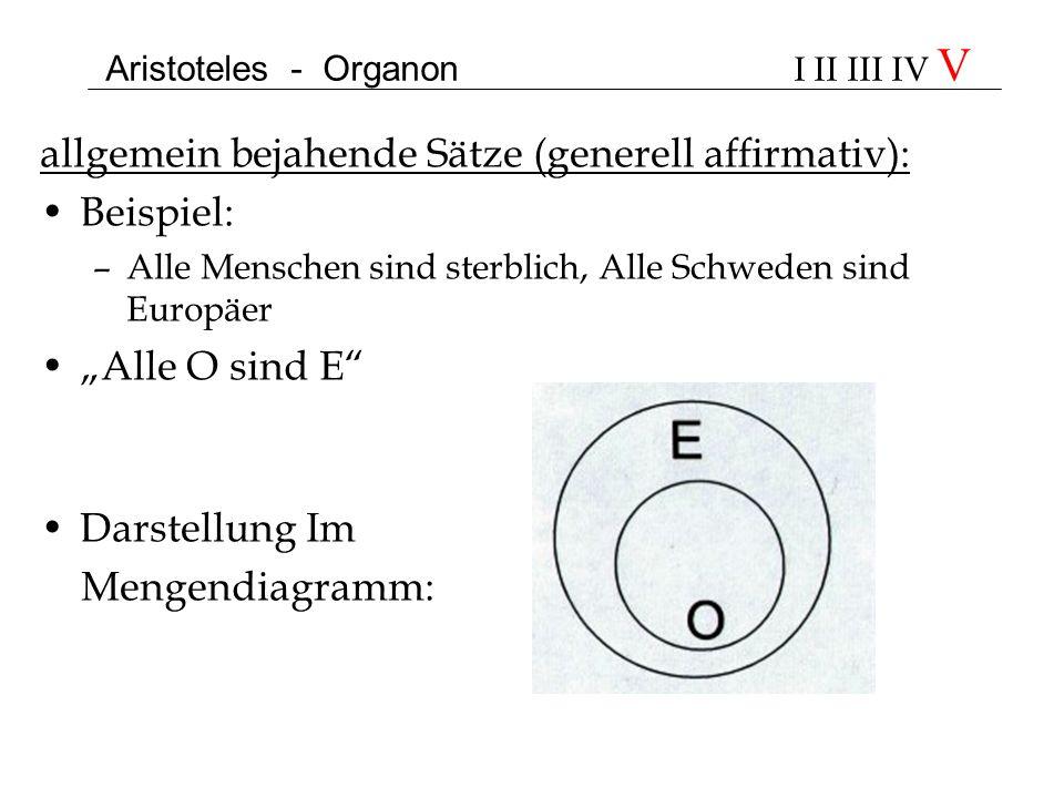 Aristoteles - Organon I II III IV V allgemein bejahende Sätze (generell affirmativ): Beispiel: –Alle Menschen sind sterblich, Alle Schweden sind Europ