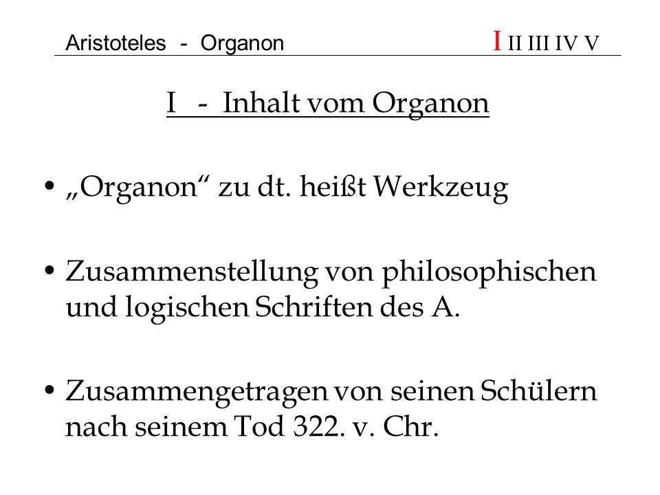 Aristoteles - Organon I II III IV V I - Inhalt vom Organon Organon zu dt. heißt Werkzeug Zusammenstellung von philosophischen und logischen Schriften