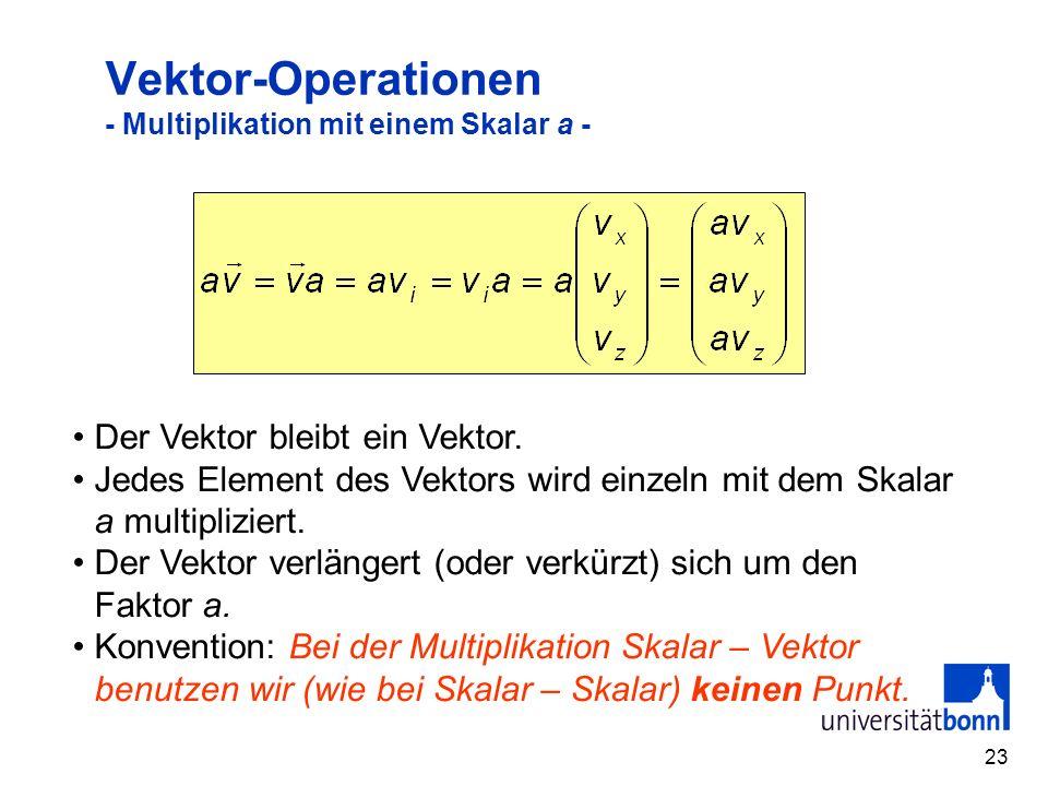 23 Vektor-Operationen - Multiplikation mit einem Skalar a - Der Vektor bleibt ein Vektor. Jedes Element des Vektors wird einzeln mit dem Skalar a mult