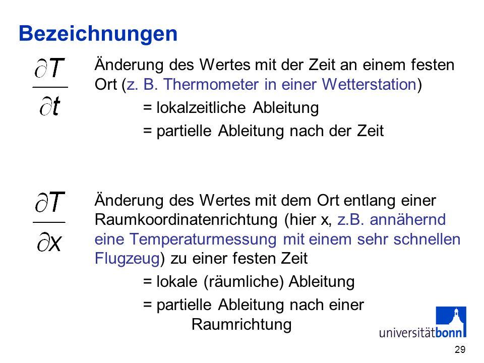 29 Bezeichnungen Änderung des Wertes mit der Zeit an einem festen Ort (z. B. Thermometer in einer Wetterstation) = lokalzeitliche Ableitung = partiell