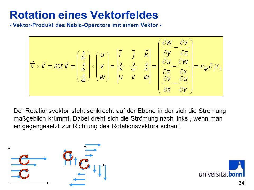 34 Rotation eines Vektorfeldes - Vektor-Produkt des Nabla-Operators mit einem Vektor - Der Rotationsvektor steht senkrecht auf der Ebene in der sich d