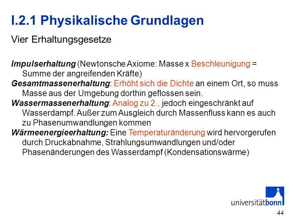 44 I.2.1 Physikalische Grundlagen Vier Erhaltungsgesetze Impulserhaltung (Newtonsche Axiome: Masse x Beschleunigung = Summe der angreifenden Kräfte) G