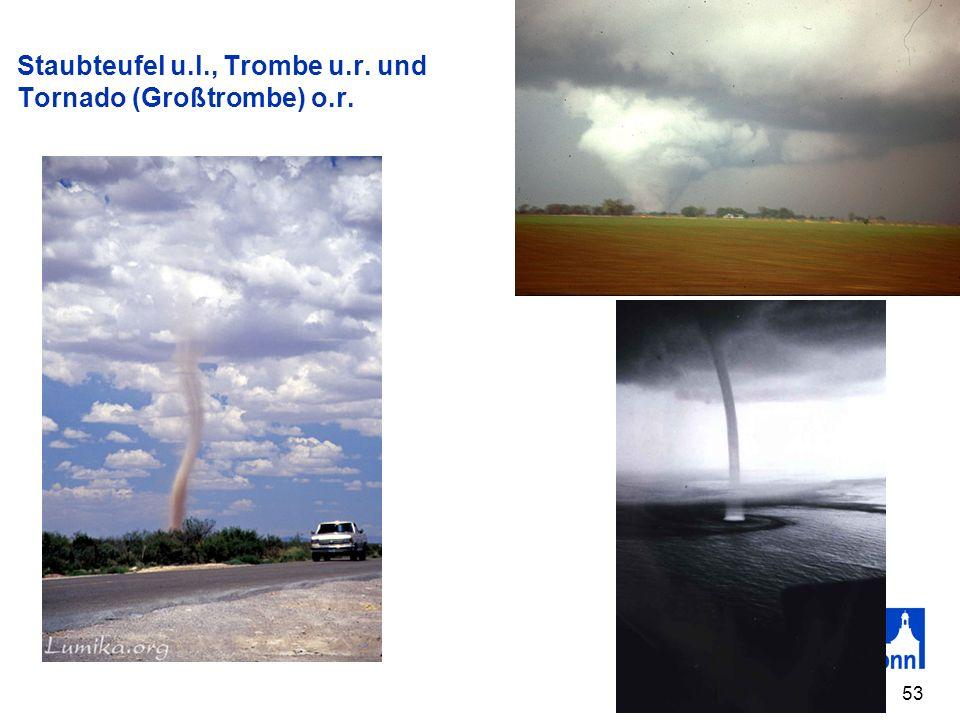 53 Staubteufel u.l., Trombe u.r. und Tornado (Großtrombe) o.r.