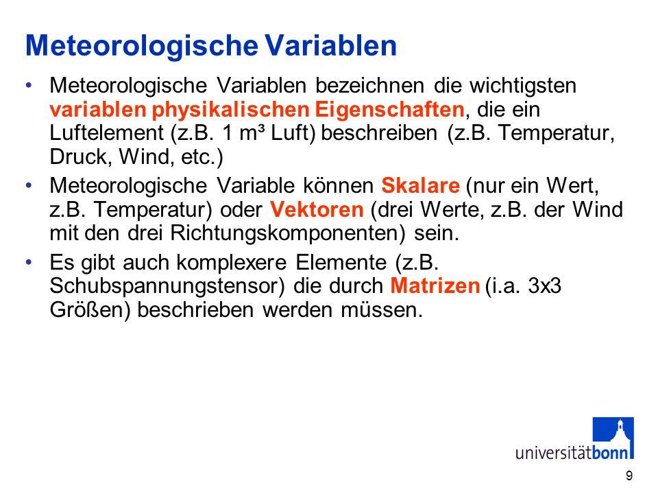 10 Einige wichtige Elemente ElementSymbolSI-Einheit ungefährer Wert in Bodennähe Bedeutung Luftdruck (S)p kg/(ms 2 ) = Pa 101325 Antrieb für die Luftbewegung Luftdichte (S) kg/m 3 1,2Masse, Trägheit Lufttemperatur (S)TK288,15Wärme-energie Luftfeuchte (S)verschieden variabel Wolken, Niederschlag, Energie Windgeschwindigkeit (V) u, v, wm/s0 - 20Impuls der Luft Schubspannungs- tensor (T) τkg/(ms²)sehr variabelReibung Strahlungsflussdichte (S) FW/m 2 0 - 1000Wärmequelle