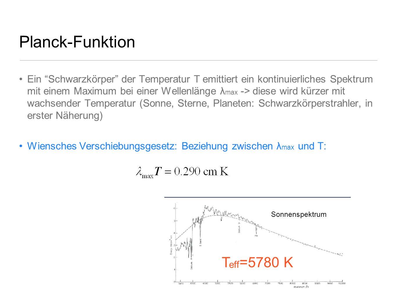 Planck-Funktion Ein Schwarzkörper der Temperatur T emittiert ein kontinuierliches Spektrum mit einem Maximum bei einer Wellenlänge λ max -> diese wird