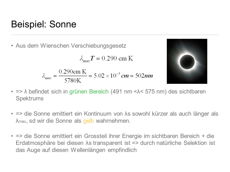 Beispiel: Sonne Aus dem Wienschen Verschiebungsgesetz => λ befindet sich in grünen Bereich (491 nm <λ< 575 nm) des sichtbaren Spektrums => die Sonne e