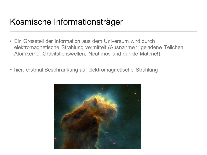 Kosmische Informationsträger Ein Grossteil der Information aus dem Universum wird durch elektromagnetische Strahlung vermittelt (Ausnahmen: geladene T