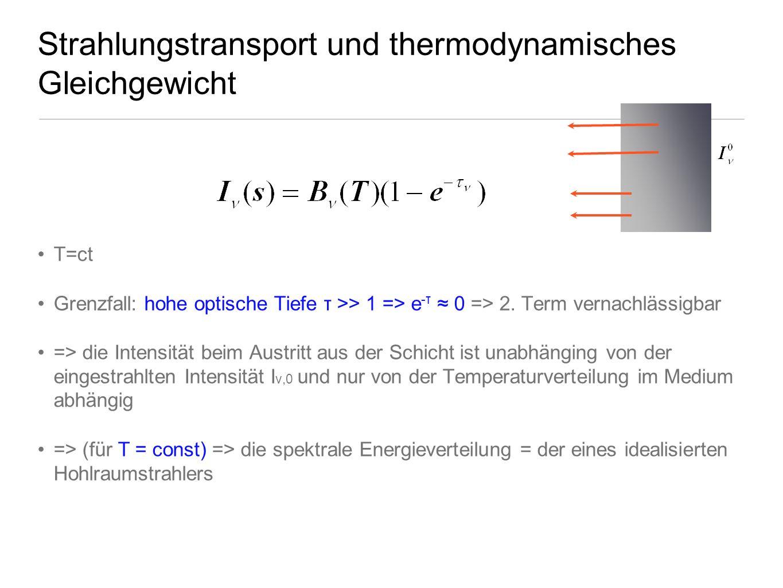 Strahlungstransport und thermodynamisches Gleichgewicht T=ct Grenzfall: hohe optische Tiefe τ >> 1 => e -τ 0 => 2. Term vernachlässigbar => die Intens