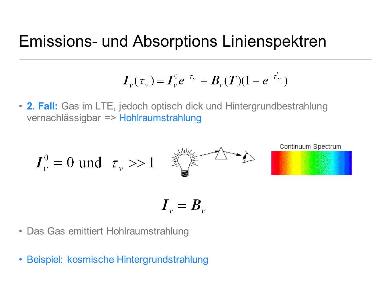 Emissions- und Absorptions Linienspektren 2. Fall: Gas im LTE, jedoch optisch dick und Hintergrundbestrahlung vernachlässigbar => Hohlraumstrahlung Da