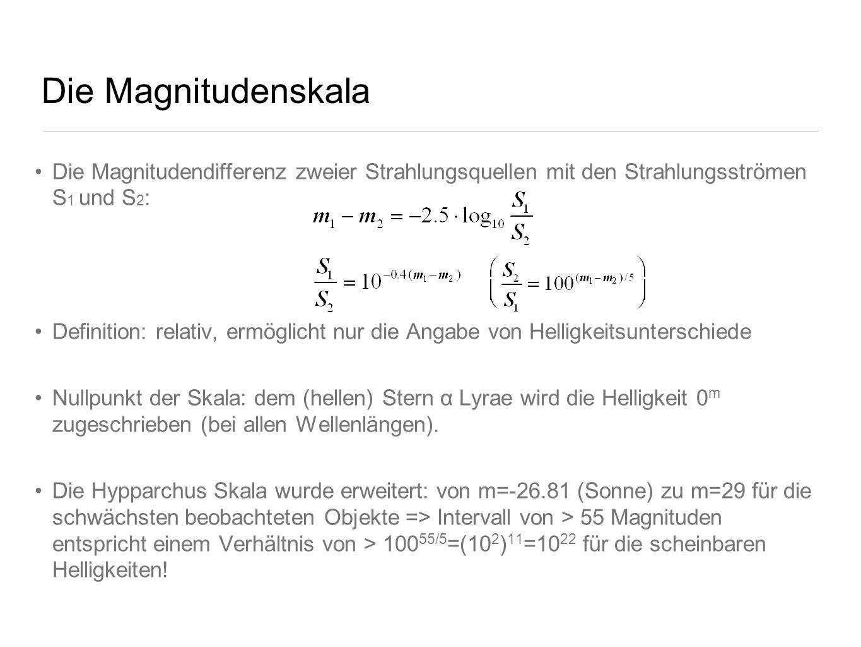 Die Magnitudenskala Die Magnitudendifferenz zweier Strahlungsquellen mit den Strahlungsströmen S 1 und S 2 : Definition: relativ, ermöglicht nur die A