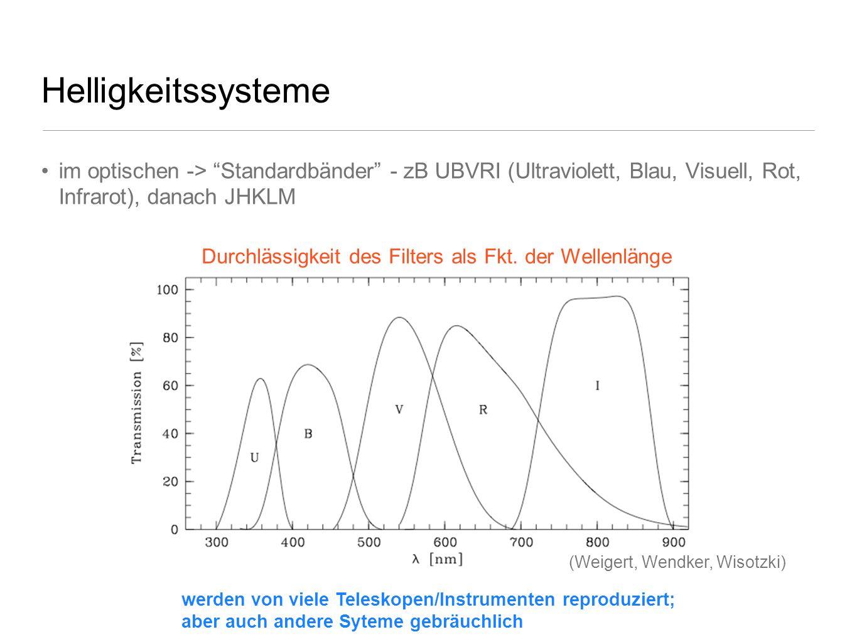 Helligkeitssysteme im optischen -> Standardbänder - zB UBVRI (Ultraviolett, Blau, Visuell, Rot, Infrarot), danach JHKLM Durchlässigkeit des Filters al