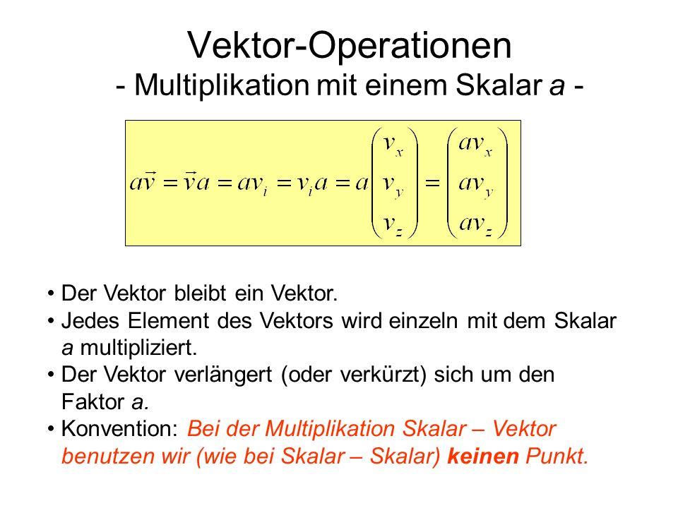Vektor-Operationen - Skalar-Produkt (a) - Das Skalarprodukt zweier Vektoren ist ein Skalar.
