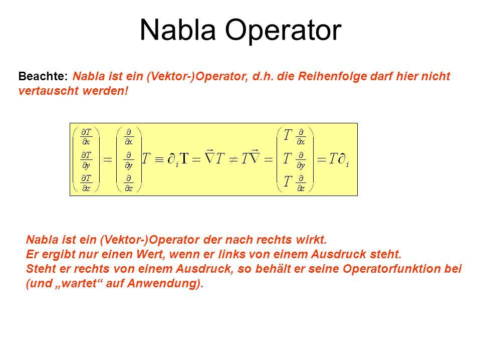 Divergenz eines Vektorfeldes - Skalar-Produkt des Nabla-Operators mit einem Vektor - x 0 < 0 Die Divergenz quantifiziert das Zusammenströmen (Senke, negativ) und Auseinanderströmen (Quelle, positiv) eines Vektorfeldes.