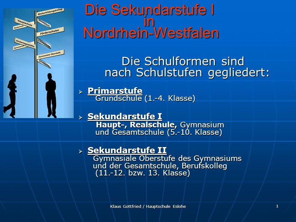 Klaus Gottfried / Hauptschule Eslohe 12 Berufskolleg Berufskolleg Die Sekundarstufe II in Nordrhein-Westfalen Das Berufskolleg umfasst die Bildungsgänge der Berufsschule, der Berufsfachschule, der Fach- oberschule und der Fachschule Die Bildungsgänge des Berufskollegs sind nach Berufsfeldern, Fachrichtungen und fachlichen Schwerpunkten gegliedert.